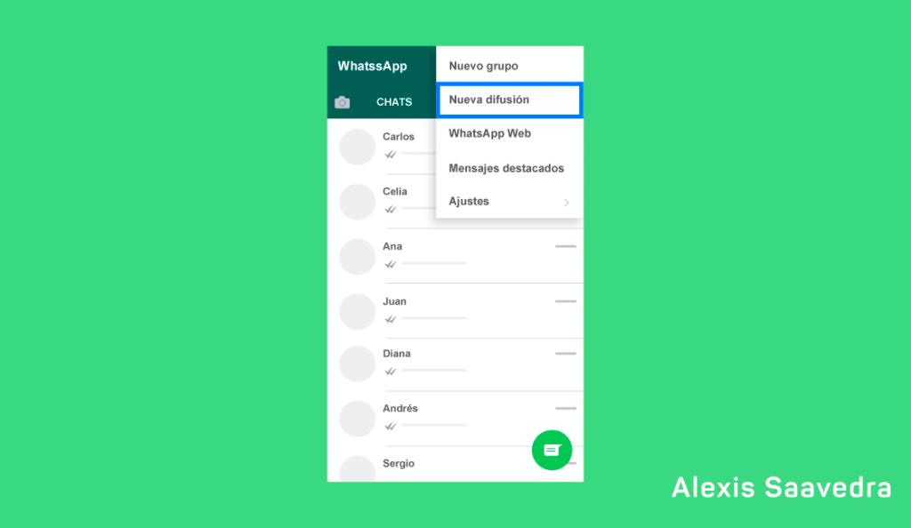 crear lista de difusion en WhatsApp Business